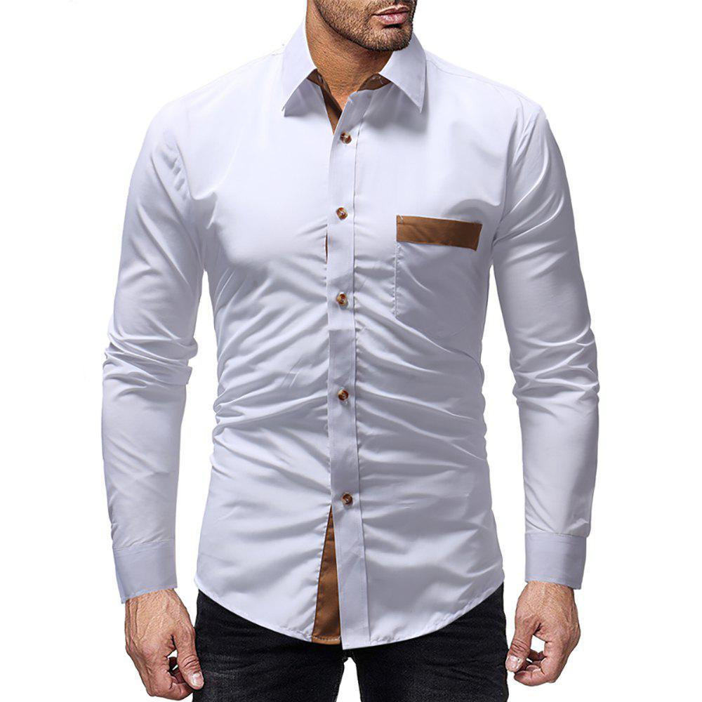 Affordable Men Sticker Pocket Colorblock Casual Slim Long Sleeve Shirt