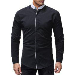 Men Contrast Stand Collar Casual Slim Long Sleeve Solid Color Shirt -