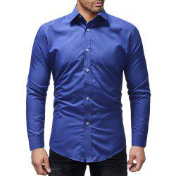 Men Casual Solid Color Slim Long Sleeve Shirt -