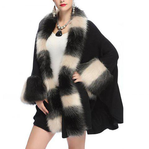 Women's Fashion Loose Top Grade Stripes Faux Fur Shawl Coat