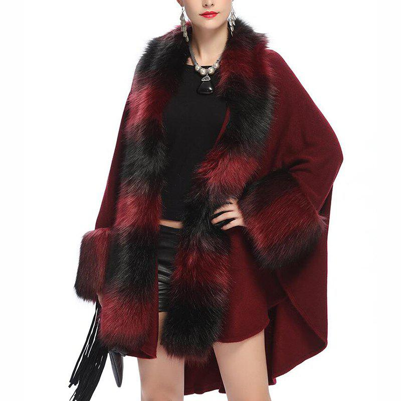 Женская мода Loose Top Grade Stripes Faux Fur Shawl Coat