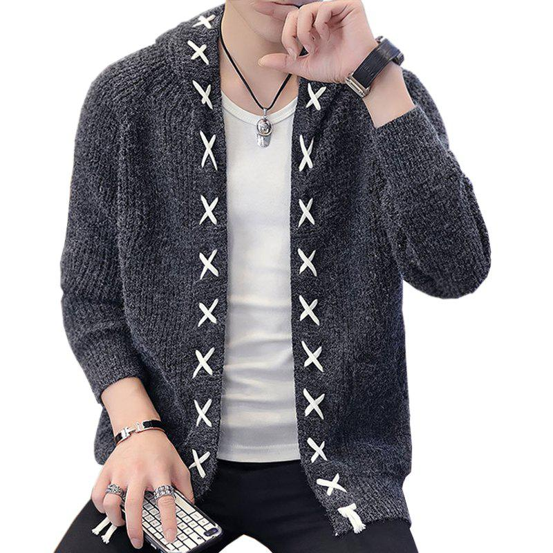 7d8f99d24d8de Outfits New Men Fashion Spring Autumn Winter Long Sleeve with Cap Solid Cardigan  Sweater