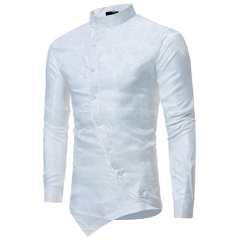 db649953728c New Fashion Men Floral Stand Collar Long Sleeve Shirt Casual Shirt