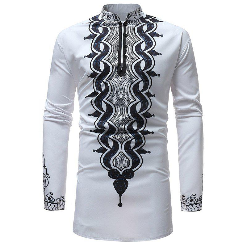 b5eddf45a746 Affordable New Fashion Men Stand Collar Long Sleeve Print Floral Causal  Shirt