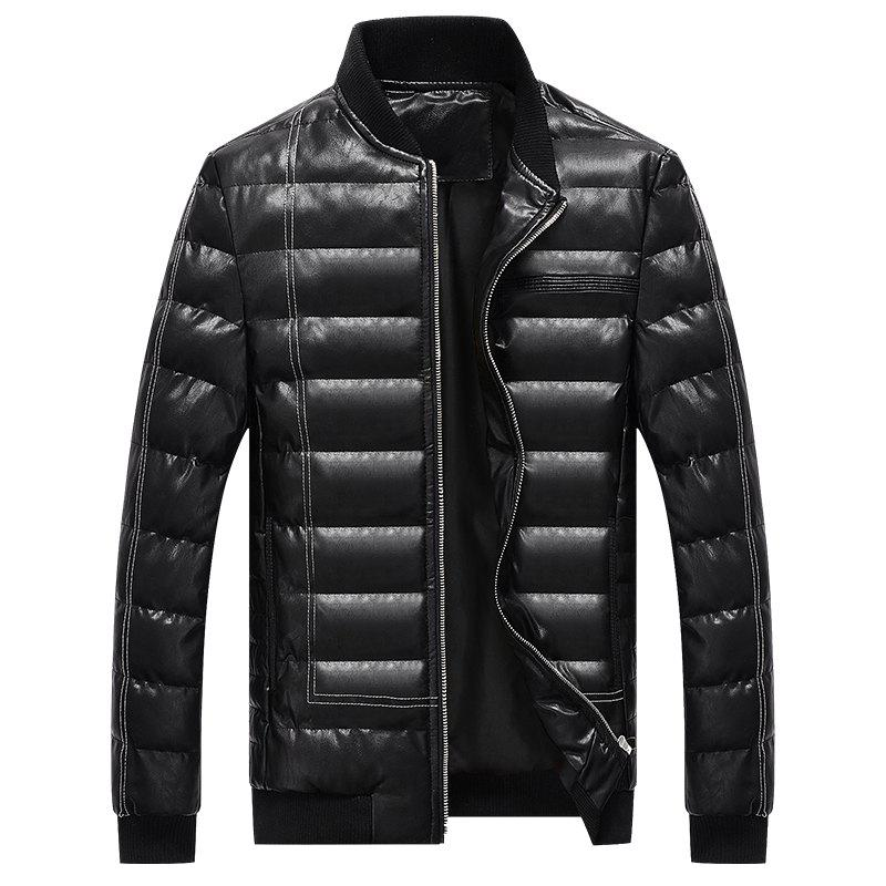 Discount Men Quilted Coats Stand Collar Hoodies Zipper Casual Warmth Padded Jacket