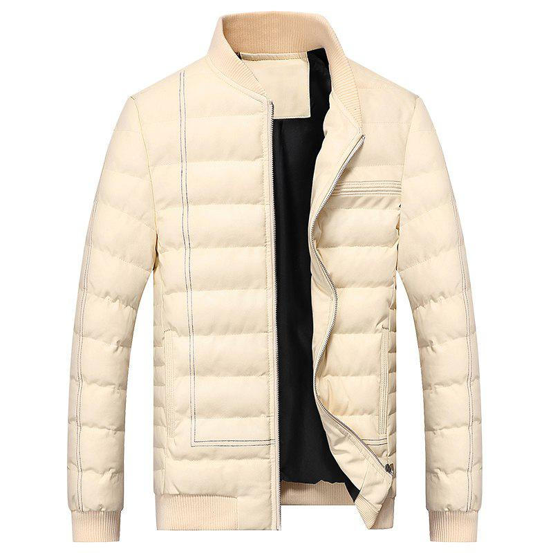 Buy Men Quilted Coats Stand Collar Hoodies Zipper Casual Warmth Padded Jacket