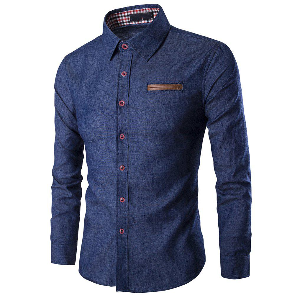 Men's  Casual Slim Collar Washed  Long-Sleeved T-Shirt