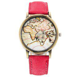 Seasonal Fashion Casual Map Denim Canvas Neutral Quartz Male and Female Watch -