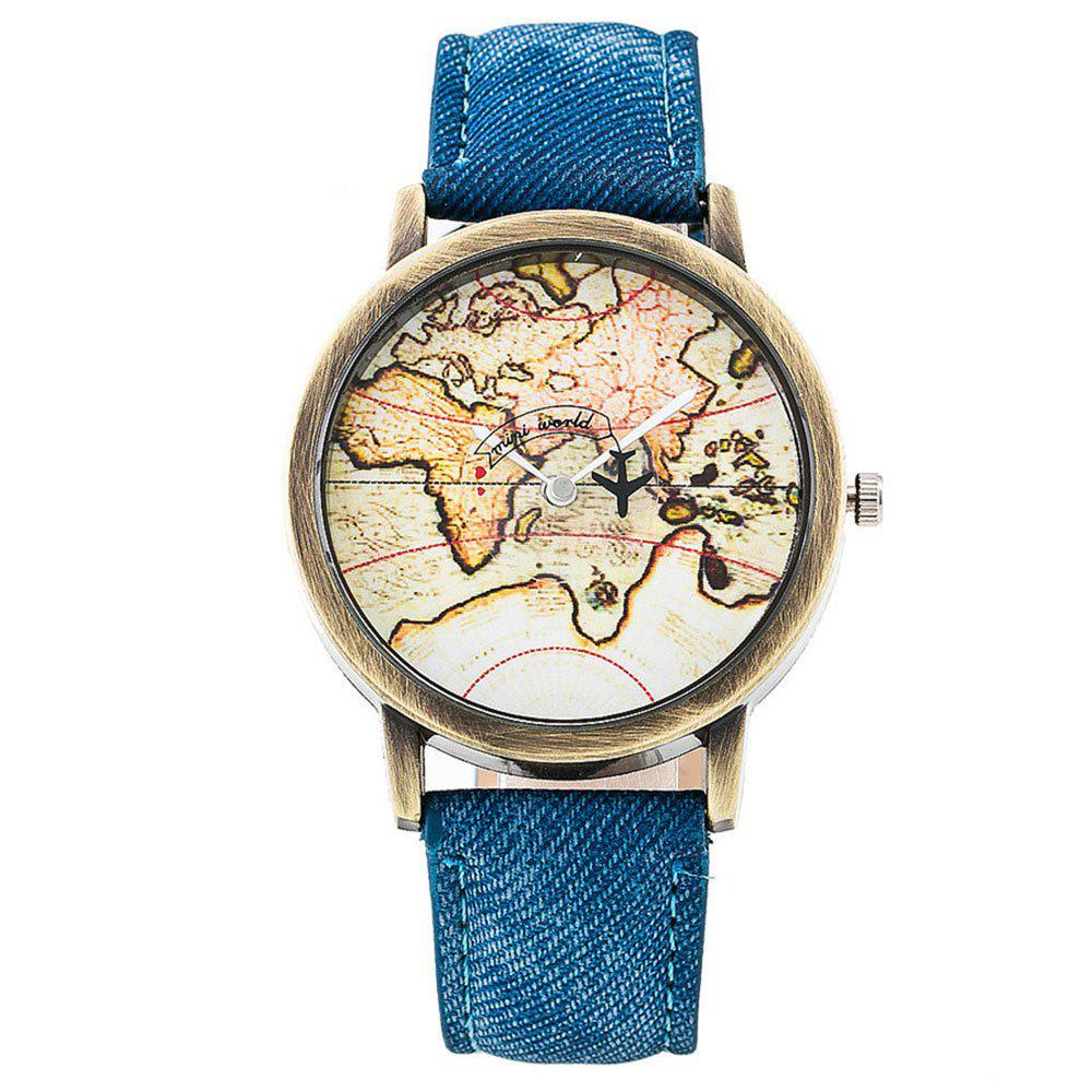 Online Seasonal Fashion Casual Map Denim Canvas Neutral Quartz Male and Female Watch