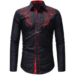 Men's Fashion Classic  Embroidery Casual Slim Long Sleeve Shirt -