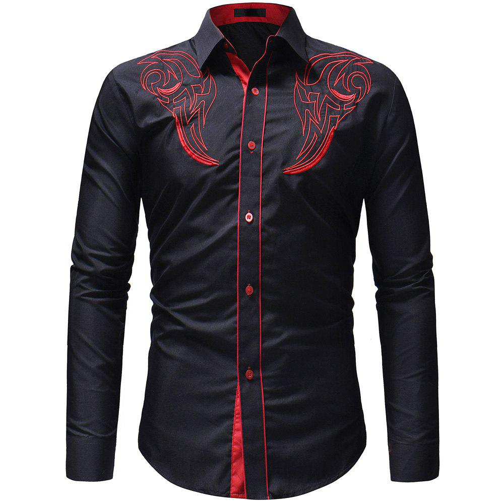 Chic Men's Fashion Classic  Embroidery Casual Slim Long Sleeve Shirt