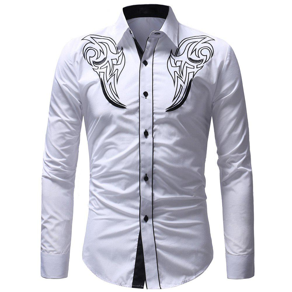 Outfits Men's Fashion Classic  Embroidery Casual Slim Long Sleeve Shirt