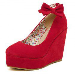 Women's Round Toe Wedge Shoes Sweet Party High Heels with Bow -