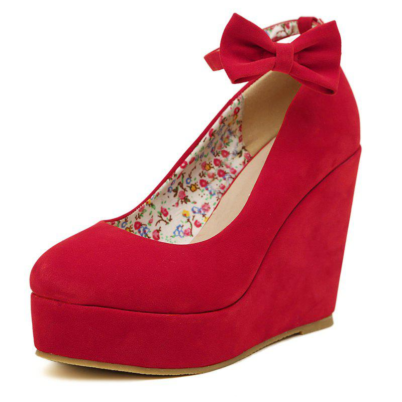 Latest Women's Round Toe Wedge Shoes Sweet Party High Heels with Bow