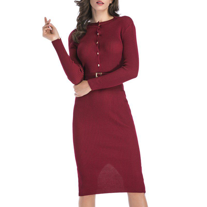 Hot Autumn Dress Pure Color Body Repair Hip Long Sleeved Knitted Dress