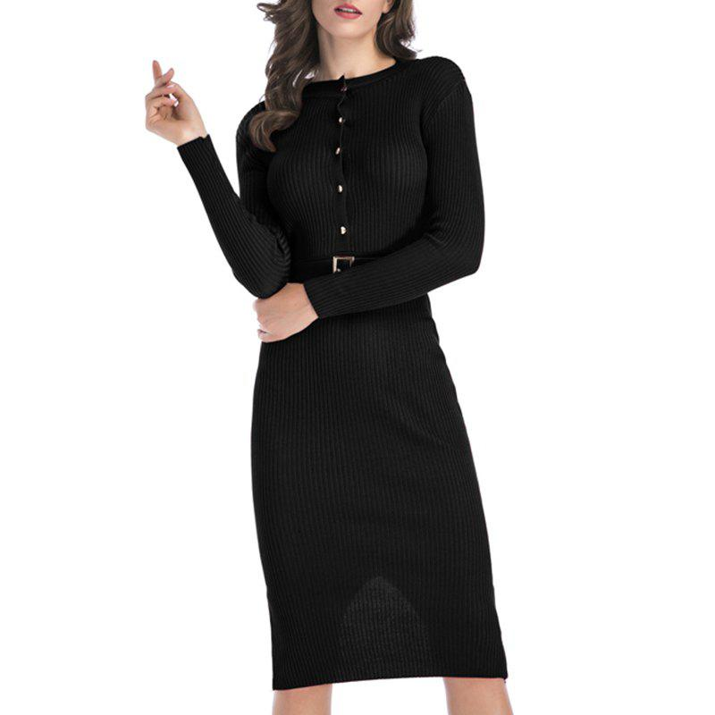 Shop Autumn Dress Pure Color Body Repair Hip Long Sleeved Knitted Dress