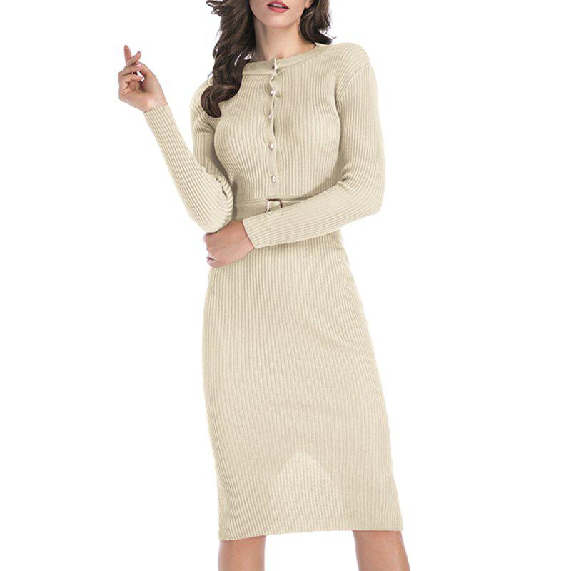 New Autumn Dress Pure Color Body Repair Hip Long Sleeved Knitted Dress