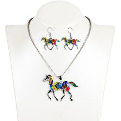 Fashion Drip Oil Rainbow Horse Jewelry Set Alloy Necklace Earrings -