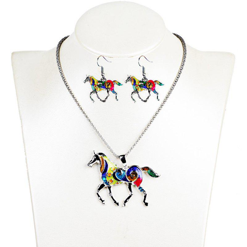 Fancy Fashion Drip Oil Rainbow Horse Jewelry Set Alloy Necklace Earrings