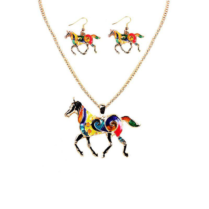 Best Fashion Drip Oil Rainbow Horse Jewelry Set Alloy Necklace Earrings