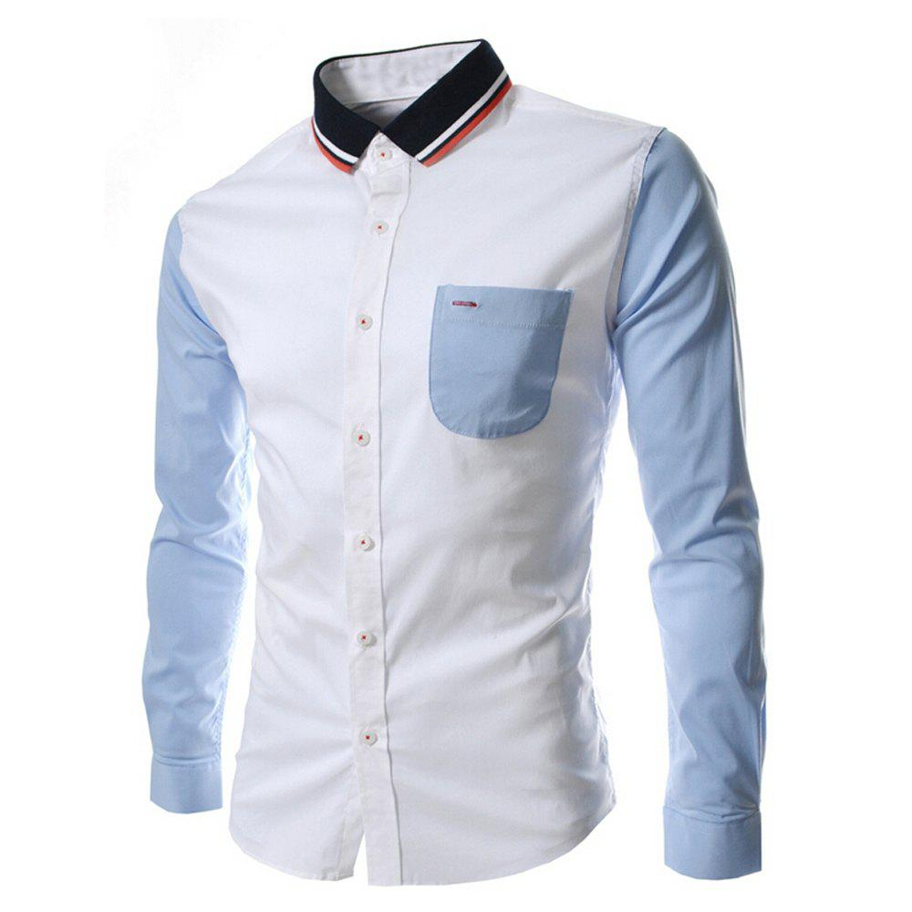 Outfit Men's  Knit Collar Colorblock Fashion Long Sleeve T-Shirt