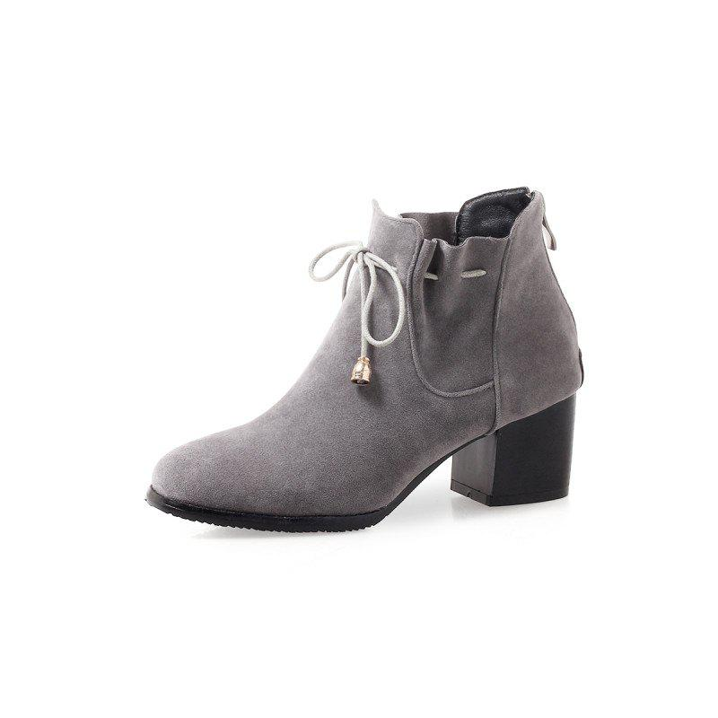 Discount Casual College Rough Grey Fold Short Boots