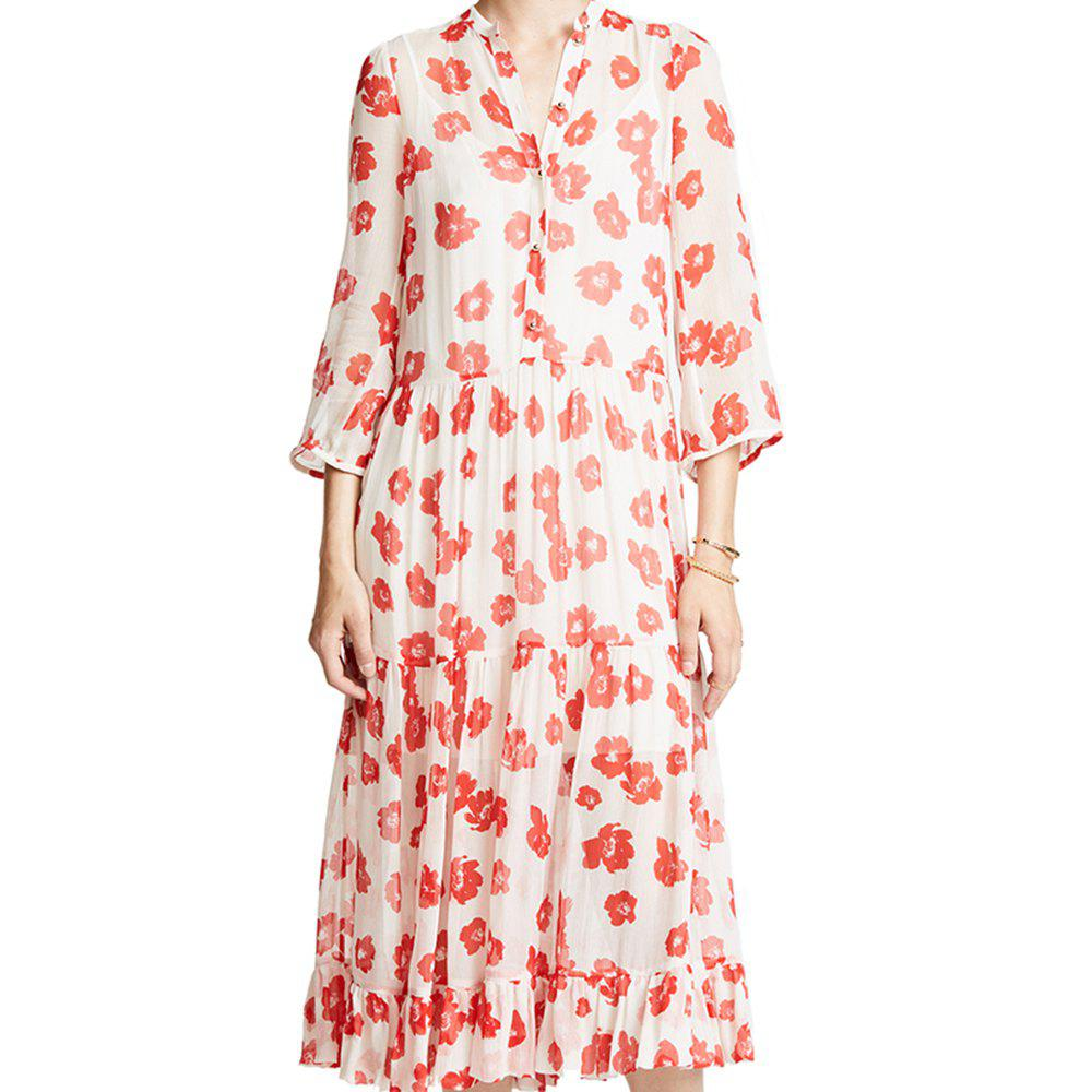 New Simple Floral Print Ruffled Hem Micro-Perspective Dress
