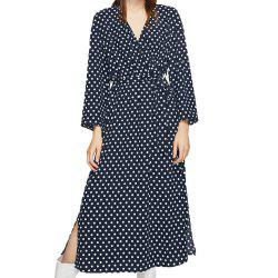 Polkad Chic Belt Side Slit Dress -
