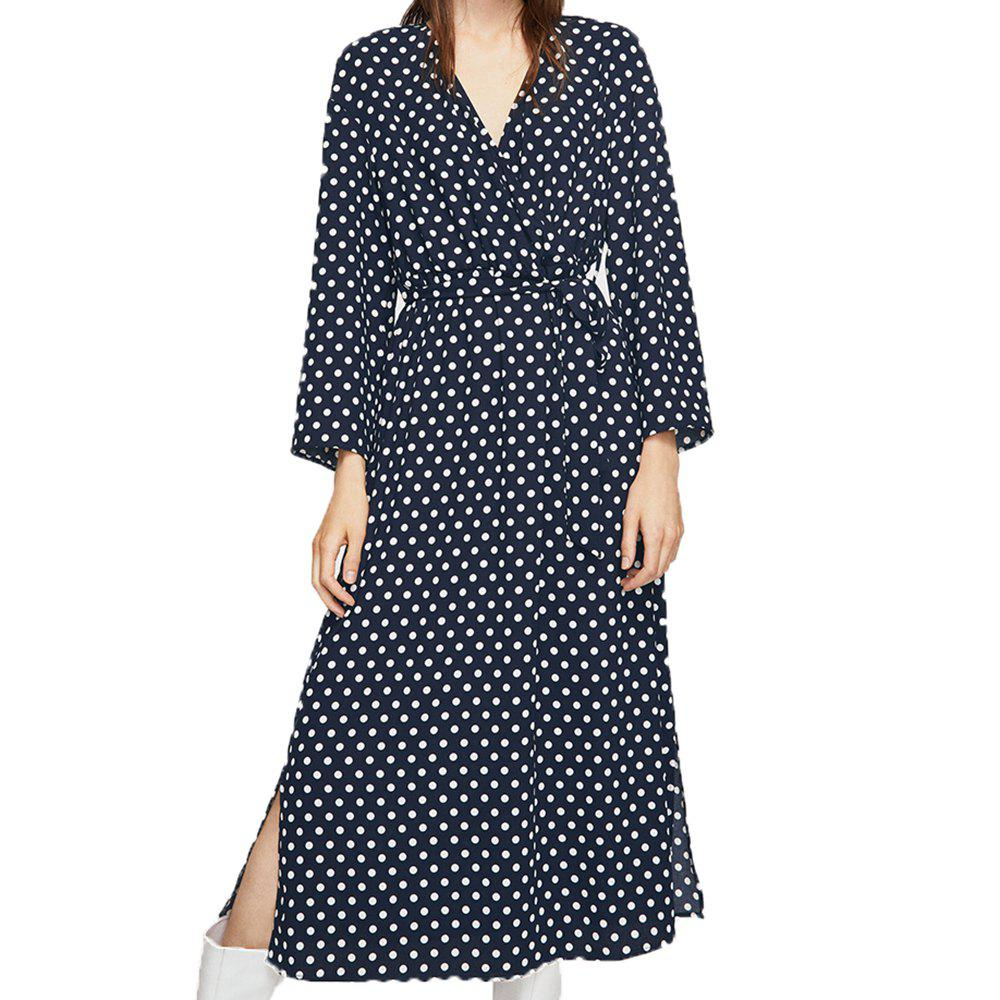 Best Polkad Chic Belt Side Slit Dress
