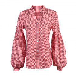 Spring and Autumn V-neck Lantern Sleeve Long Sleeve Shirt -