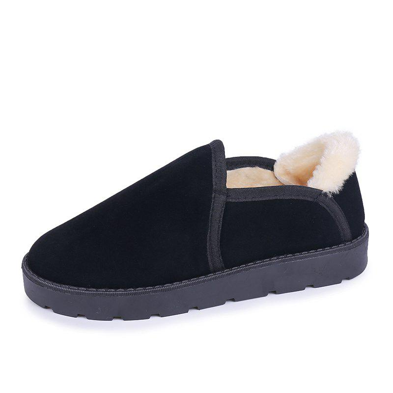 Shops Round Head Snow Shoes Thickened Fluffy Women'S Shoes Flat Shoes