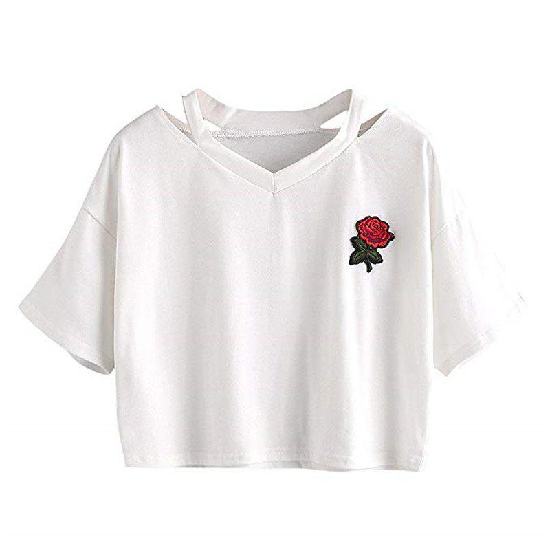 Outfits Women'S Embroidered Crop Top Short Sleeve T Shirt