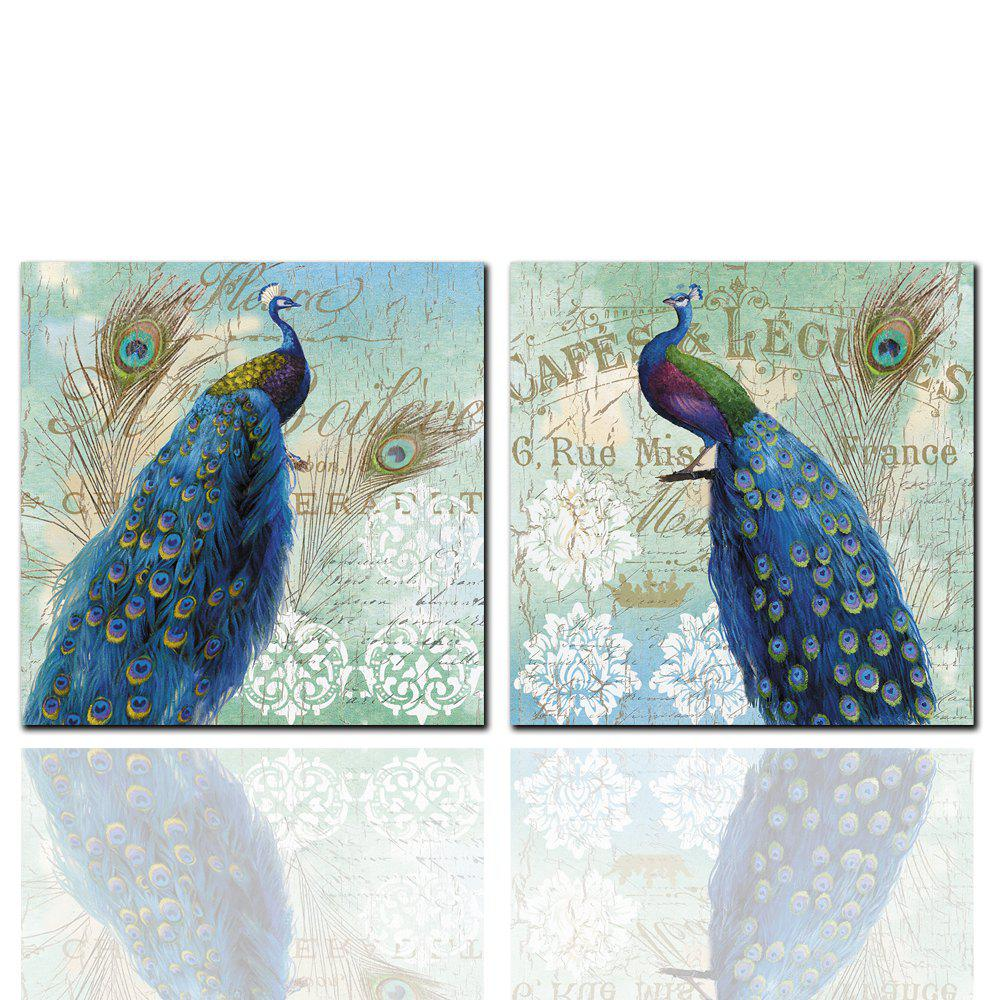 Outfits 2 Pcs HD Inkjet Paints Blue Peacock Animal Decorative Painting