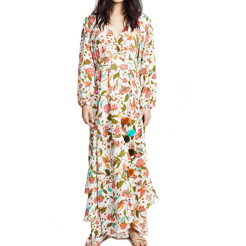 Sale Holiday Style Printed Lantern Sleeve Ball Ball Dress