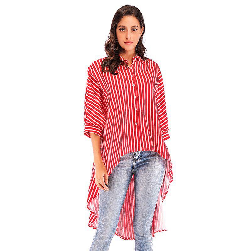 Outfits Summer New Bat Sleeve Loose Dovetail Trend women'S Striped Shirt