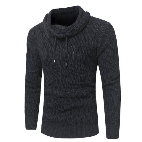 Men's Fashion Solid Color Hat Rope Pile Collar Men'S Head Slim Sweater Sweater