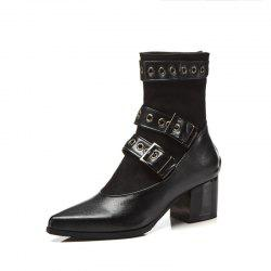 Thick High Heel Pointed Rivets Street Wind Buckles Middle Tube Boots -