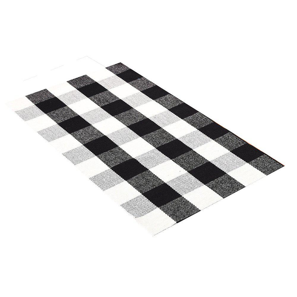 Black And White Checkered Rug: 2019 Cotton Black And White Plaid Rug Hand-woven Checkered