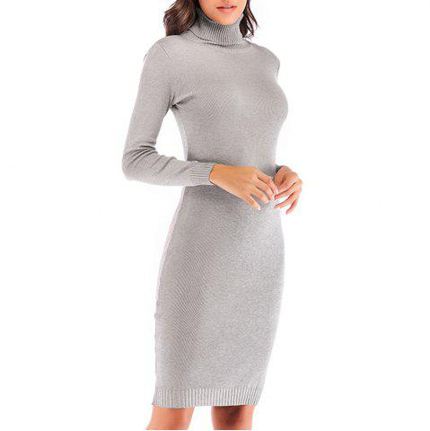 Autumn and Winter Knit High Collar Stretch Versatile Slim Body Long Sleeve Dress
