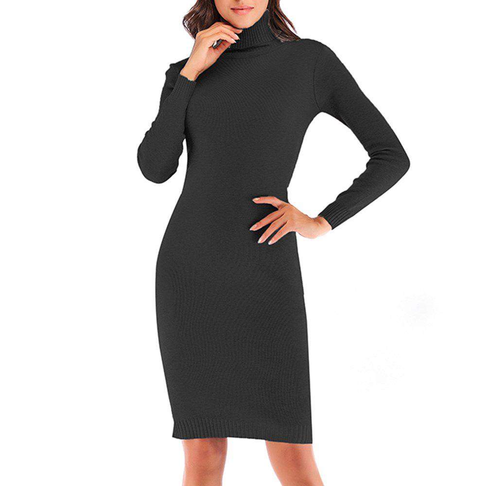 Unique Autumn and Winter Knit High Collar Stretch Versatile Slim Body Long Sleeve Dress