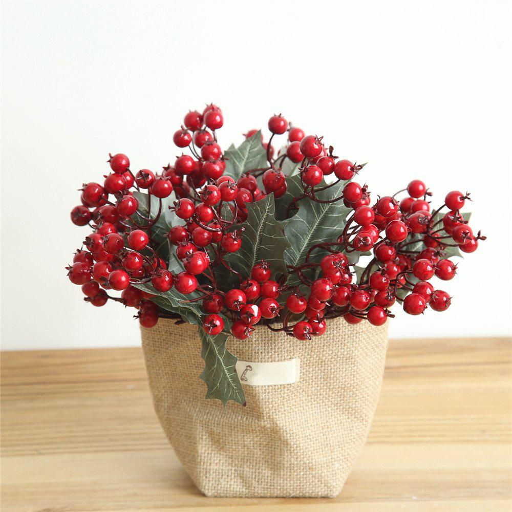 Fancy Vivid Little Red Berries Artificial Flower Christmas Decorations