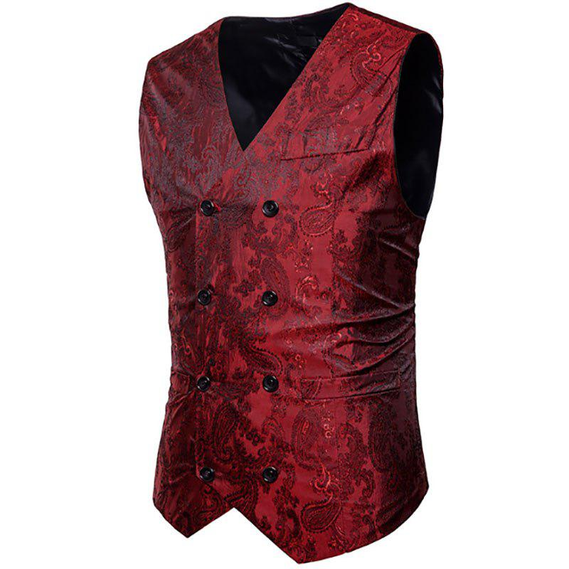 Sale Men's Fashion Color Matching Casual Print Hollow Vest