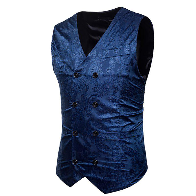 Online Men's Fashion Color Matching Casual Print Hollow Vest