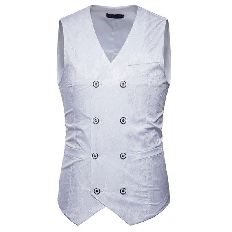 Hot Men's Fashion Color Matching Casual Print Hollow Vest