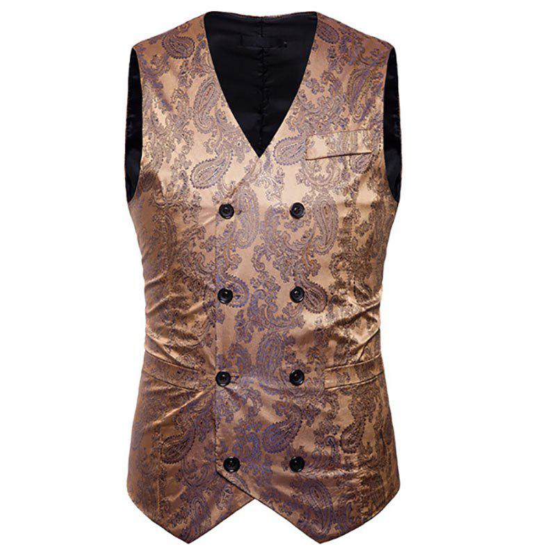 Outfit Men's Fashion Color Matching Casual Print Hollow Vest