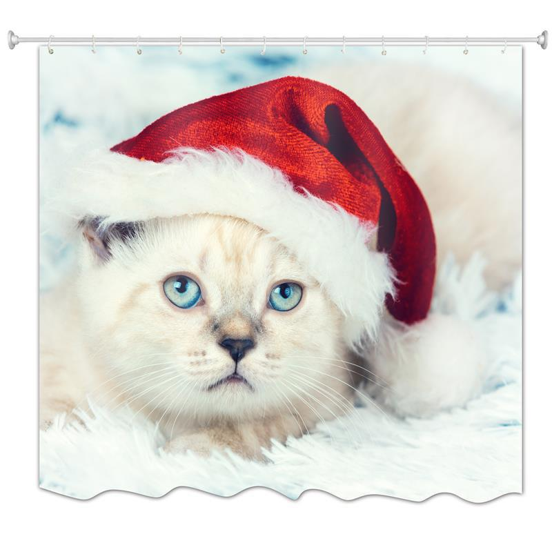 Discount Cat in Christmas Hat Water-Proof Polyester 3D Printing Bathroom Shower Curtain