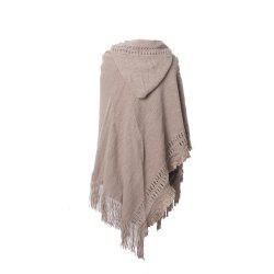 Lady's Soft and Solid Cap Knitted Cloak -