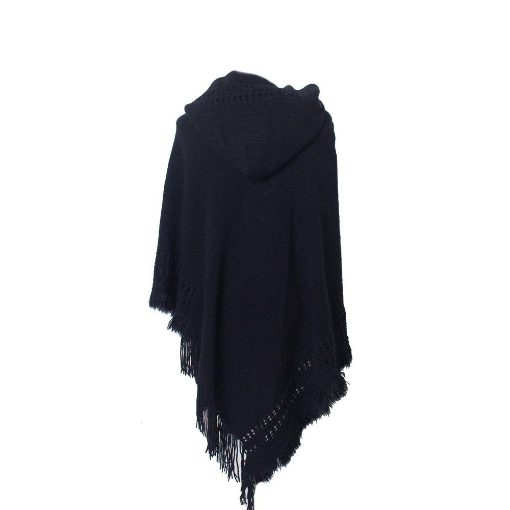 Shop Lady's Soft and Solid Cap Knitted Cloak