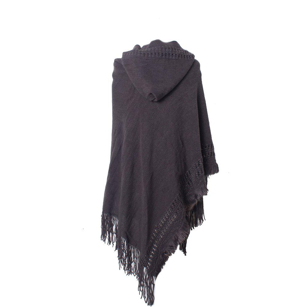 Fashion Lady's Soft and Solid Cap Knitted Cloak