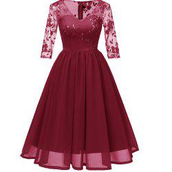 Embroidery lace chiffon seven Point Sleeve  Evening Dress -